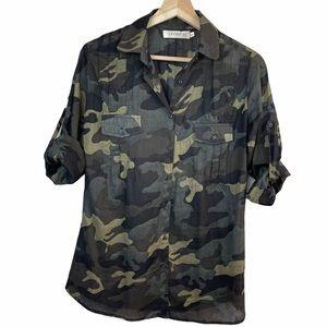 V Cailey 22 Top Camo Button 100% Cotton Shirt
